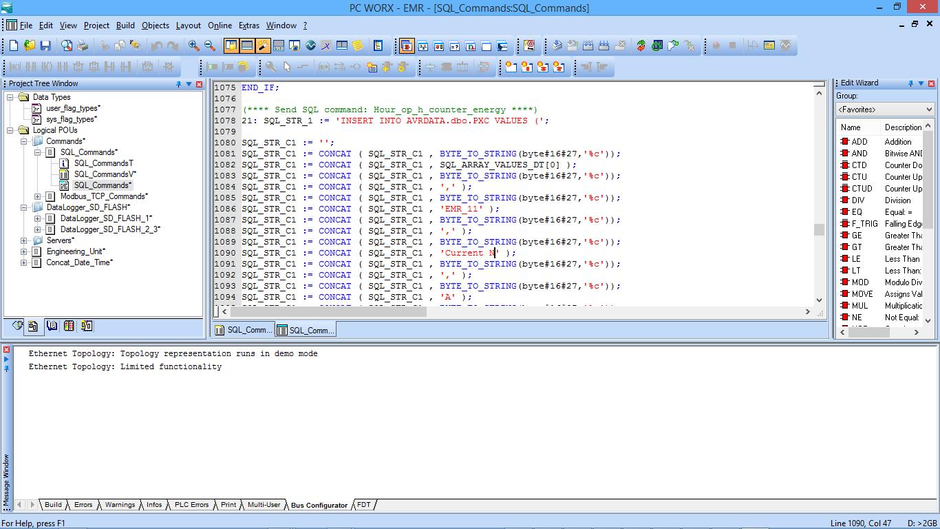 Phoenix Contact PLC ILC150 logging data to AVReporter database